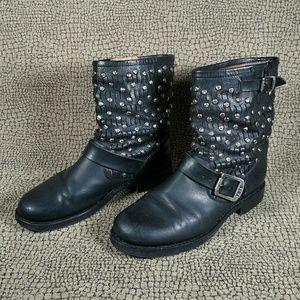 Frye Jenna Cut Stud Leather Moto Boot
